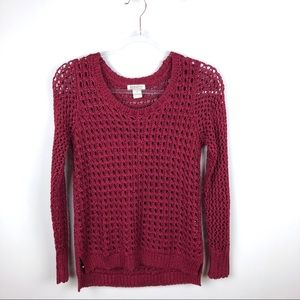Lucky Brand Red Loose Knit Sweater Small S